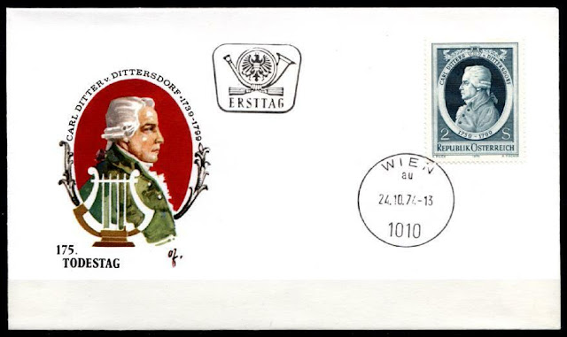 Austria 1974 - Carl Ditters von Dittersdorf - Composer First Day Cover