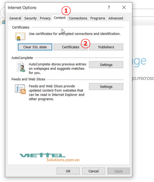 Hình 4 - Nhấn vào Certificates để xem thông tin chữ ký số Viettel-CA trên IE