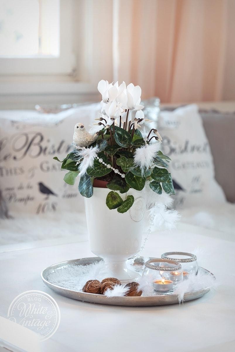 Winterdeko mit Blumen.