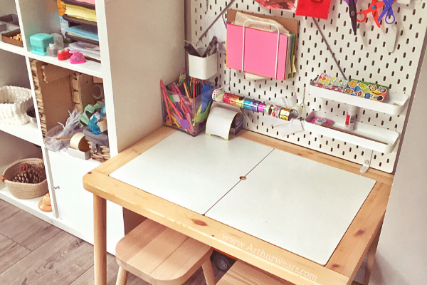 ikea flisat desk hack with pegboard and accessories