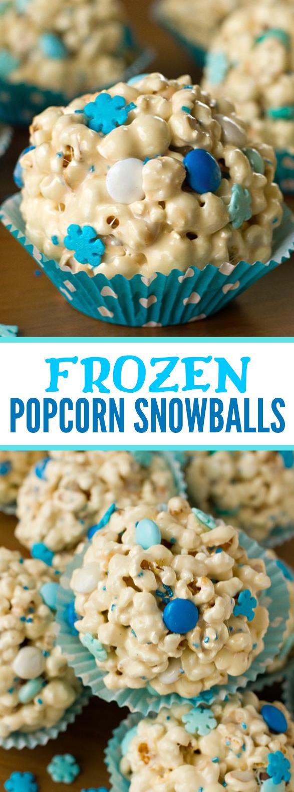 """""""FROZEN"""" POPCORN SNOWBALLS #desserts #partydessert"""