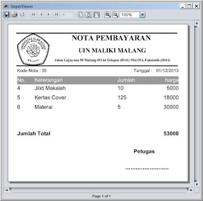 Kelas Informatika - JasperViewer Nota Pembayaran
