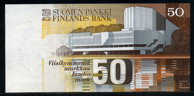 Finland 50 Finnish Markkaa Bank note bill