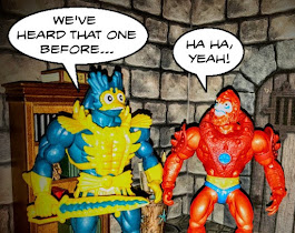 Mer-Man says: We've heard that one before. Beast Man agrees and laughs.