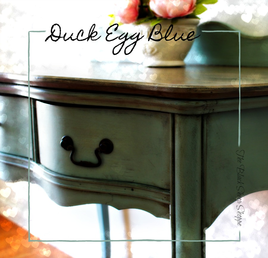 Duck Egg blue chalk paint on antique writing desk.