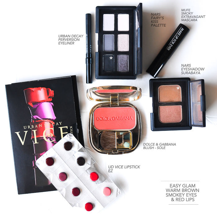 Soft Smokey Eyes with Red Lips - UD Vice lipstick EZ - NARS Surabaya eyeshadow - UD Perversion eyeliner - Dolce Gabbana Sole - NARS Fairys Kiss palette