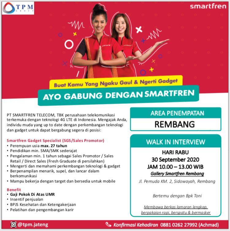 Lowongan Kerja Smartfren Gadget Specialist (SGS/Sales Promotor) Area Penempatan Smartfren Rembang