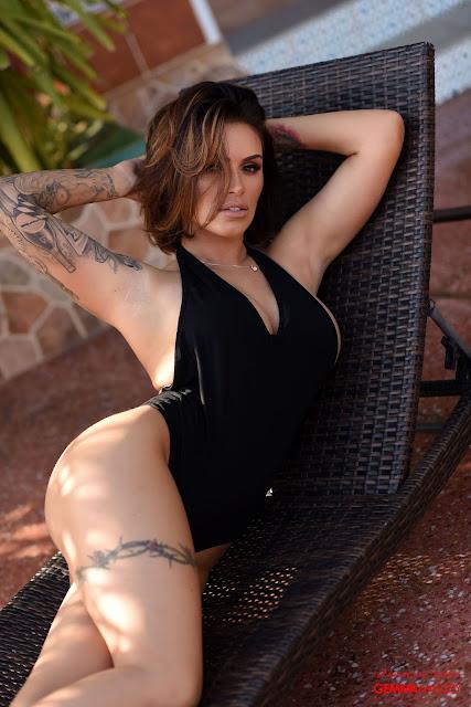 Gemma Massey hairs on face black bodysuit