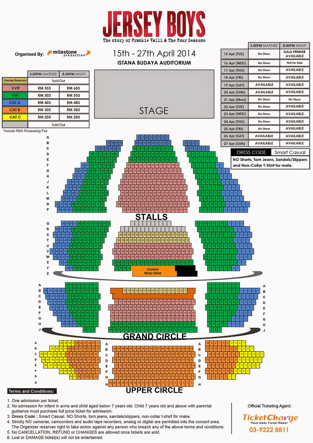 Jersey Boys Seating Layout for the KL Malaysia Show