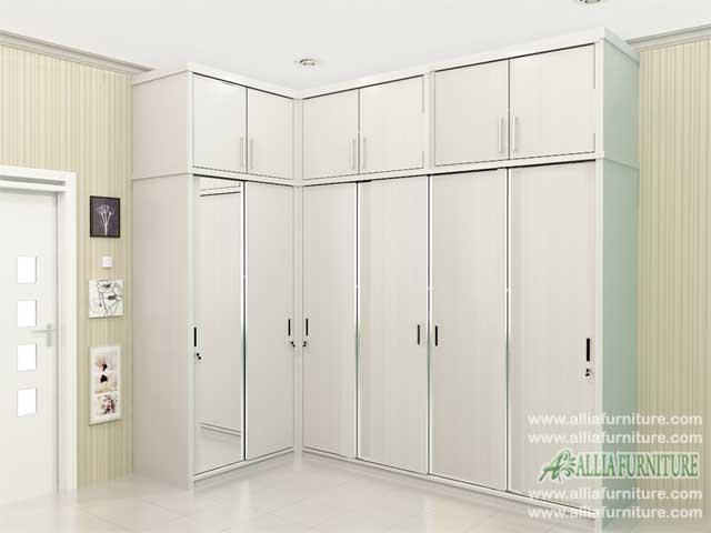 lemari pakaian sudut minimalis model seal