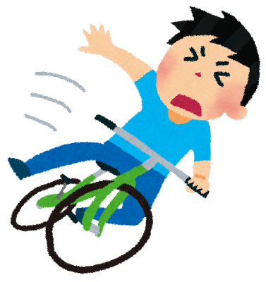 自転車で転んだ男性のイラスト