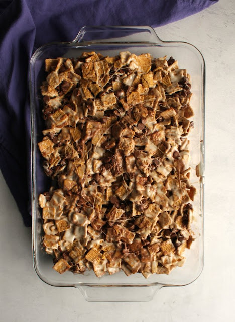 pan full of no bake s'mores bars