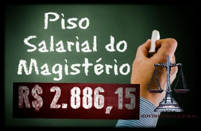 R$ 2.886,15 É O MÍNIMO QUE UM PROFESSOR DEVERÁ RECEBER EM 2020