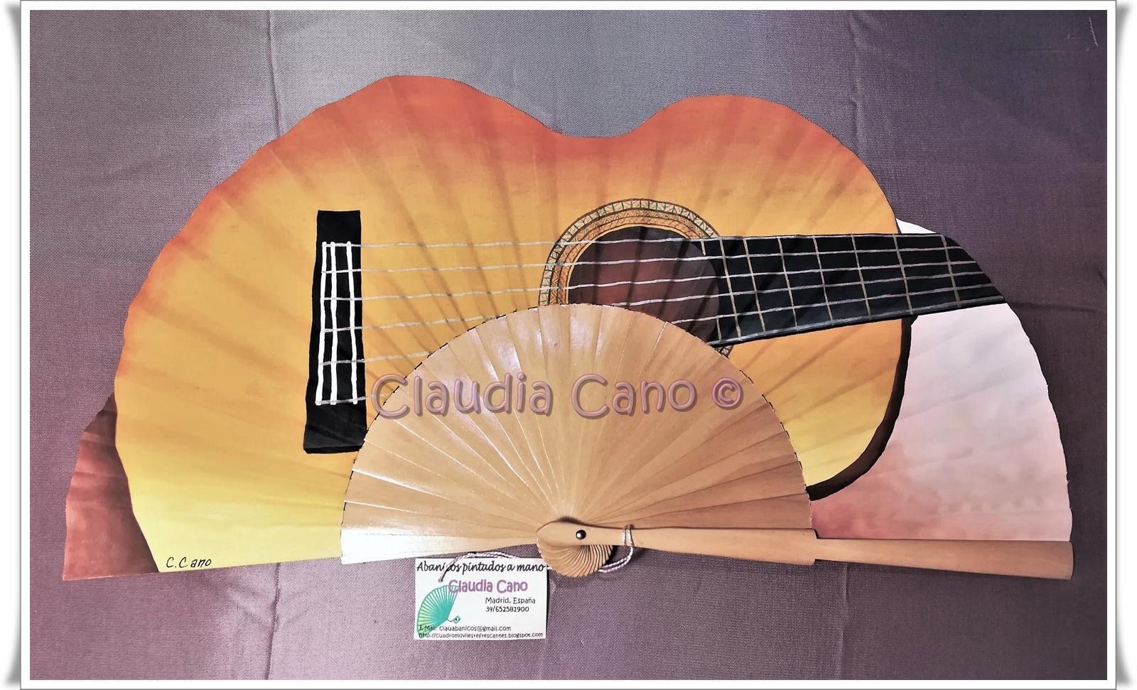 Abanicos Pintados A Mano Por Claudia Cano Abanico Guitarra Española