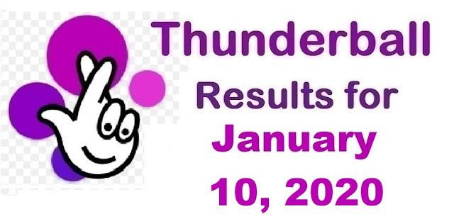 Thunderball Results for Friday, January 10, 2020