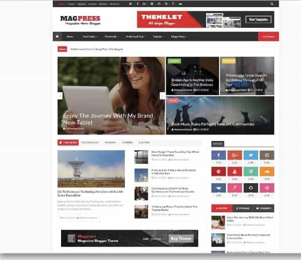 Magpress Blogger templates