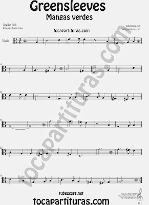 Greensleeves Partitura de Viola Mangas Verdes o ¿Qué niño es este? Sheet Music for Viola Music Score Carol Song What child is this?