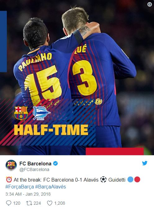 At the break fc barcelona 0-1 alaves