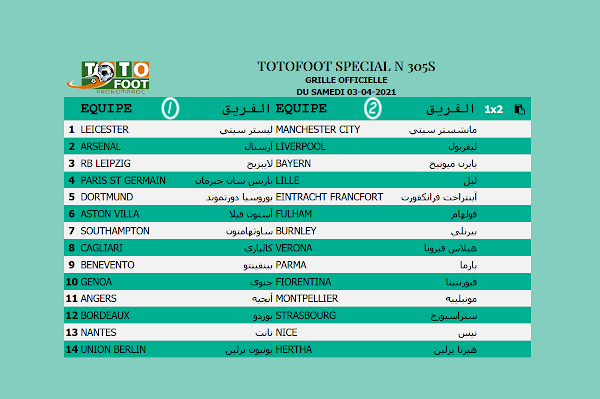 PRONOSTIC TOTOFOOT 14 Spécial N° 305S
