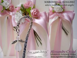 bomboniera rosa ciondolo angelo segnalibro