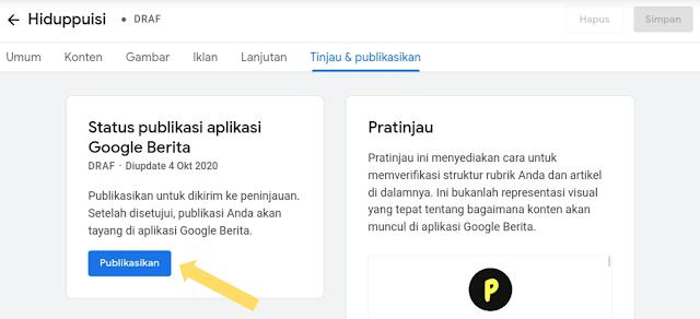 Proses Review blog di Google News