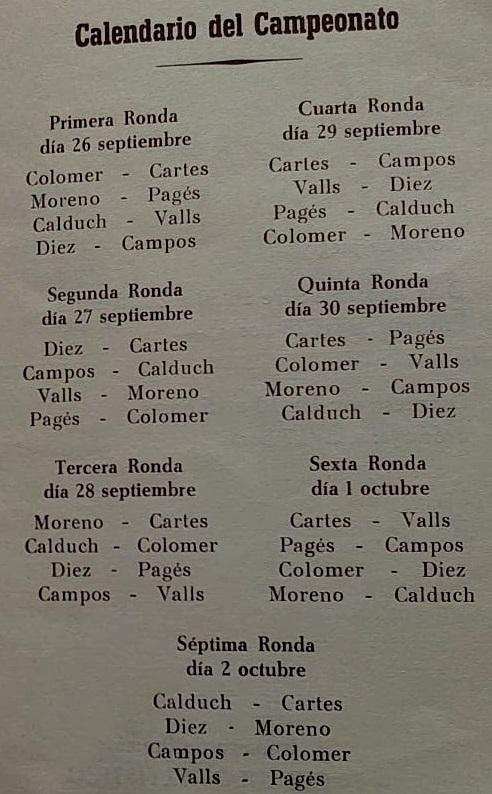 Página 6 del boletín del VIII Campeonato Provincial de Tarragona-1966
