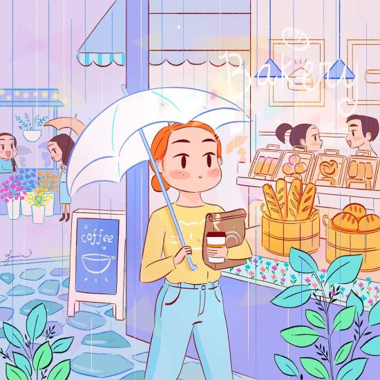 Jasmine Lee loveleemine instagram arte ilustrações fofas anime mulheres meigo cotidiano