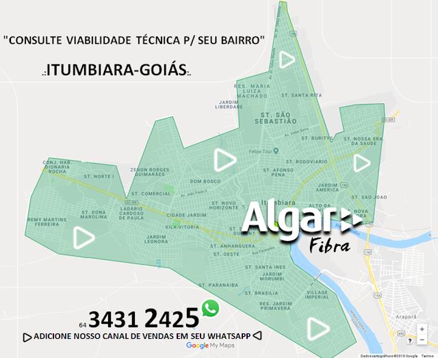 algar fibra Itumbiara mapa da cidade ilustrativa