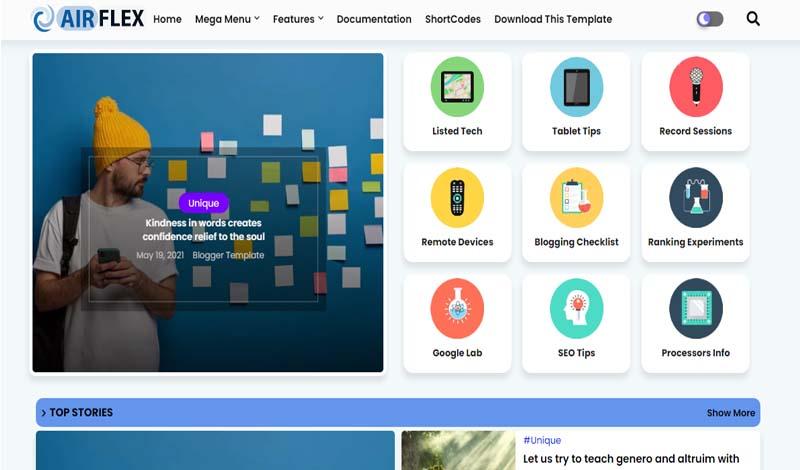 Air Flex - Magazine & News Premium Blogger Template