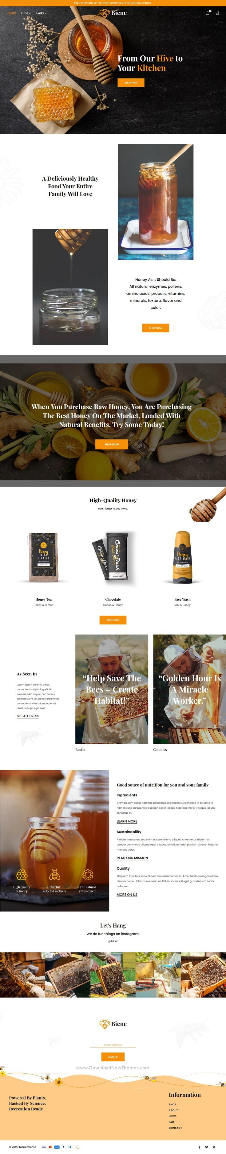 Organic Honey Products Website Theme