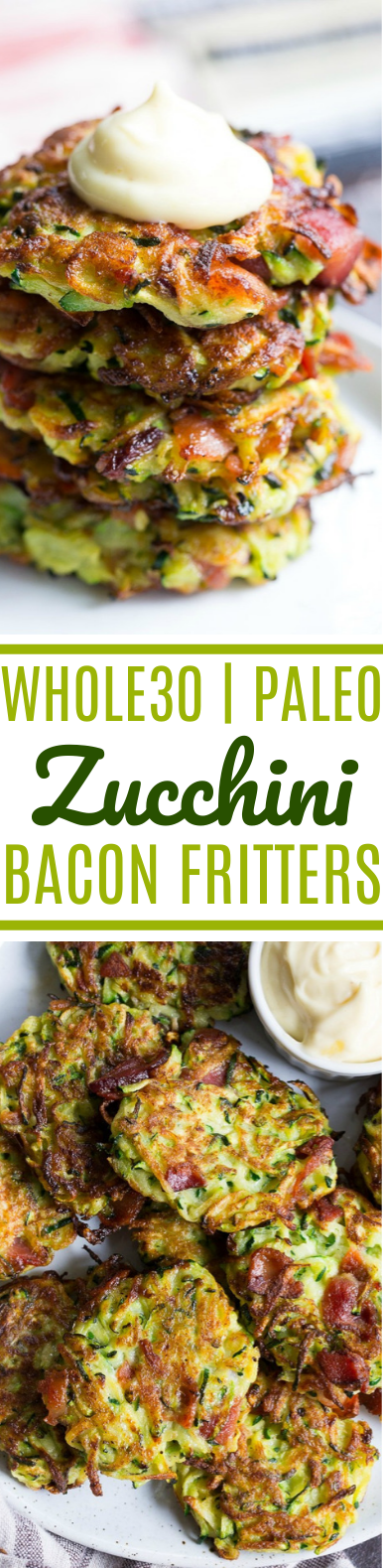 Bacon Zucchini Fritters #healthy #paleo #whole30 #lunch #breakfast