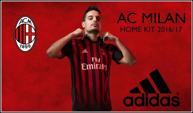 AC Milan 2016-2017 Home Men Soccer Jersey