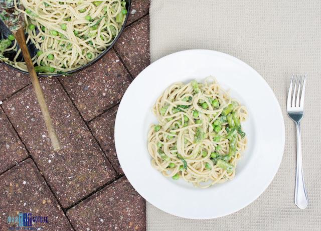 spaghetti, asparagus, green peas, pasta, makaron, szparagi