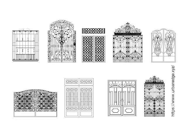 Iron gates elevation design cad blocks download - 5+ Iron gate dwg model