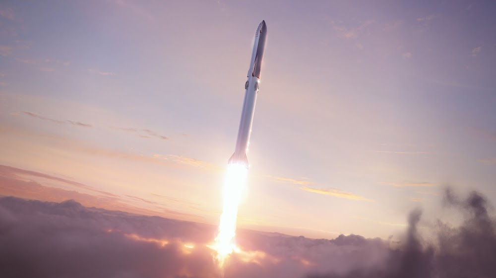 16:9 desktop HD wallpaper of SpaceX's new Starship Super Heavy launch