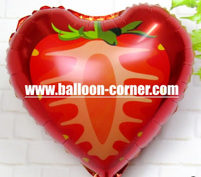 Balon Foil Potongan Buah Strawberry