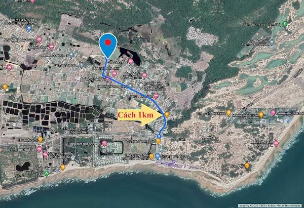vị trí đất hồ tràm cần bán xem trên google map, cách biển Hồ Tràm thuộc xã phước thuận khoảng cách 1km