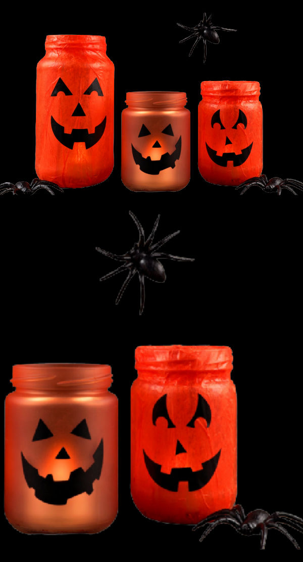 Turn empty jars into beautiful glowing lanterns with this easy Halloween craft for kids #halloweencrafts #halloweenlanternsdiy #glowstickjars #growingajeweledrose #activitiesforkids