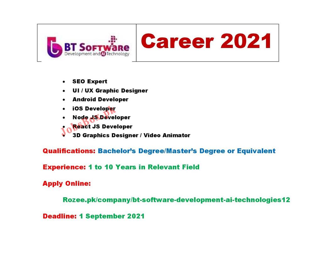 BT Software Development & AI Technologies Jobs 2021 in Pakistan