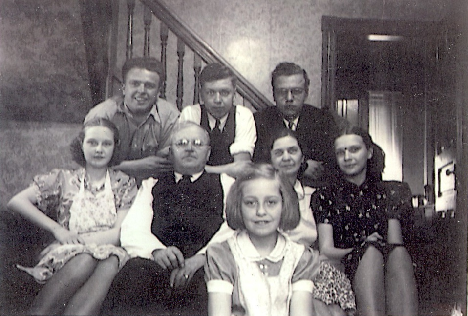 The Gabuzda Family Poses For A Picture Taken In Their Living Room At 899 Centre Street Sons George Stephen Jr And Edward Lean Behind Couch