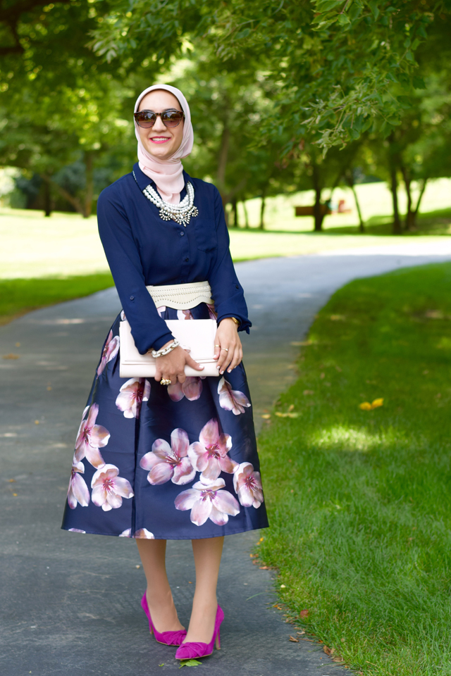 A Day In The Lalz; Chicwish; Peach Blossom Midi Skirt; Modesty; Fashion; Summer; Pink and Navy; Hijab; BaubleBar