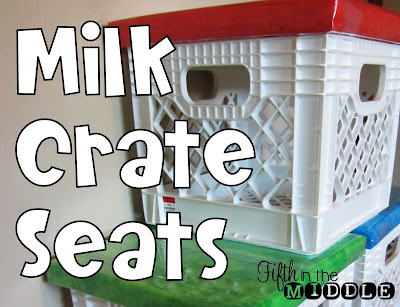 DIY milk crate seats for the classroom