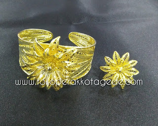 gelang tembaga handmade filigree finishing gold