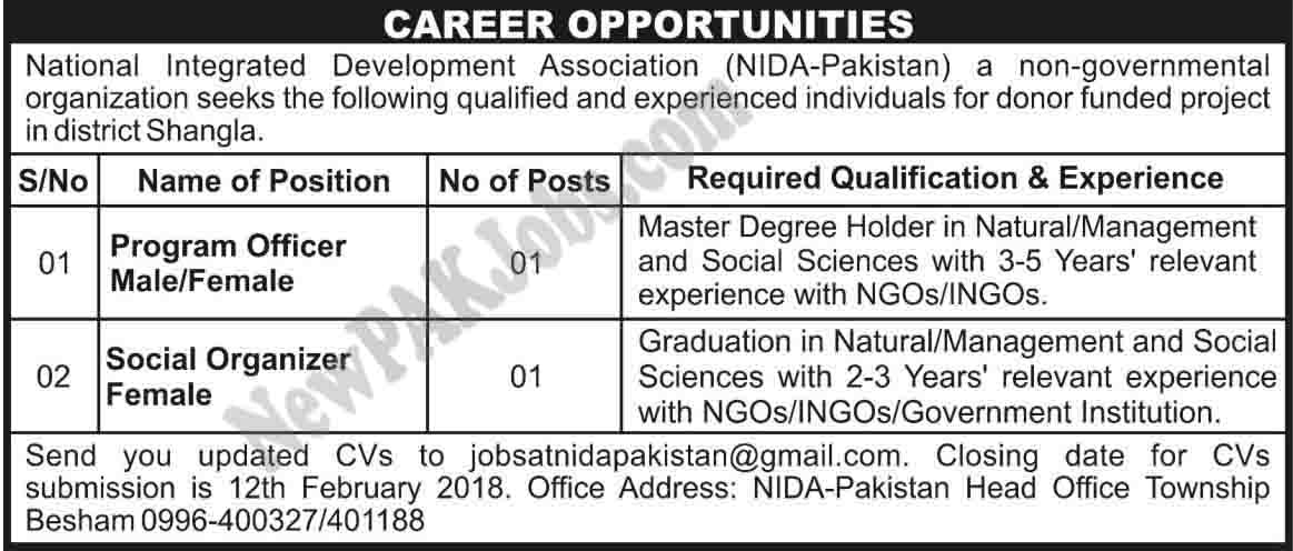 National Integrated Development Association Private Jobs Feb 2018