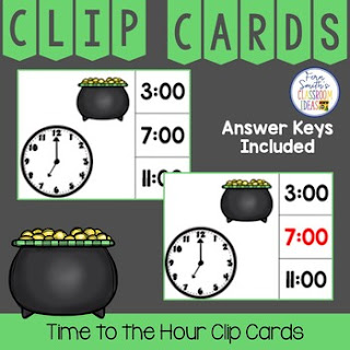 Time to the Hour Clip Cards St. Patrick's Day Themed