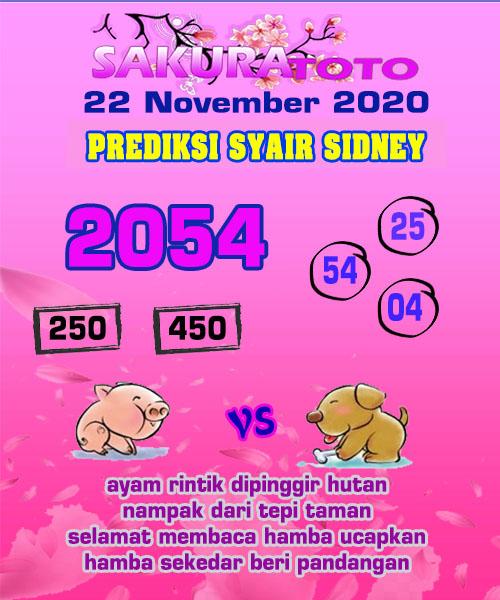 Syair Sakuratoto Sidney Minggu 22 November 2020