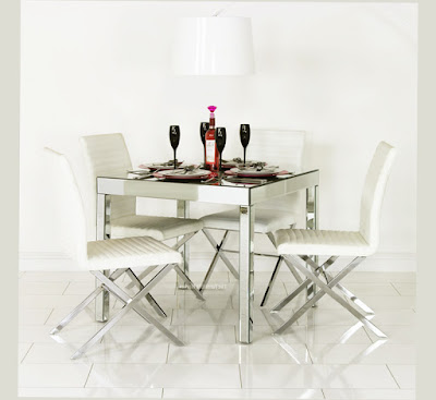Picture for Round Mirrored Dining Table Main Venetian Mirror Dining Table-and x Frame-Barcelona Chairs