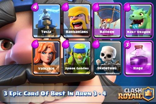 Kartu Epic Terbaik Arena 3-4 Clsah Royale