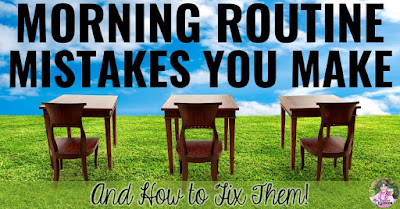 """Photo of desks and chairs in grassy field with text, """"Morning Routine Mistakes You Make and How to Fix Them."""""""