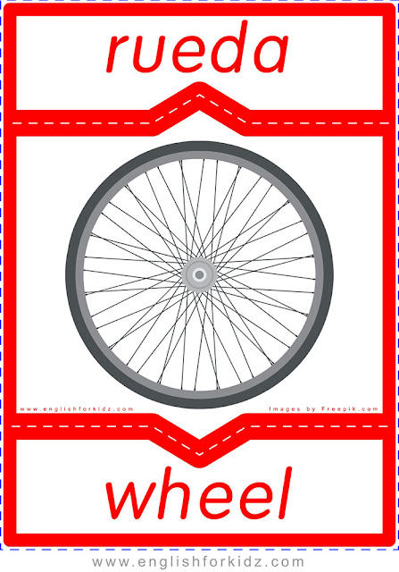 Wheel in Spanish, English-Spanish flashcard